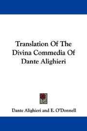 Cover of: Translation Of The Divina Commedia Of Dante Alighieri