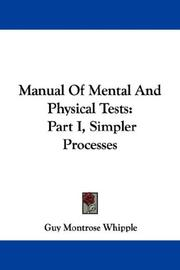 Cover of: Manual Of Mental And Physical Tests | Guy Montrose Whipple