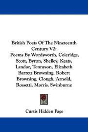 Cover of: British Poets Of The Nineteenth Century V2 | Curtis Hidden Page