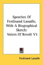 Cover of: Speeches Of Ferdinand Lassalle, With A Biographical Sketch