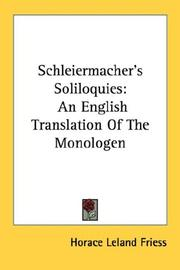 Cover of: Schleiermacher