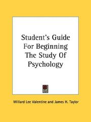 Students Guide For Beginning The Study Of Psychology
