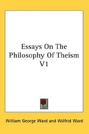 Cover of: Essays On The Philosophy Of Theism V1