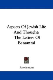 Cover of: Aspects Of Jewish Life And Thought | Anonymous