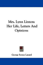 Cover of: Mrs. Lynn Linton | George Somes Layard
