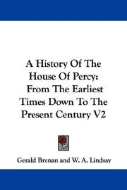 Cover of: A History Of The House Of Percy | Gerald Brenan