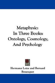 Cover of: Metaphysic in three books