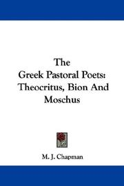 Cover of: The Greek Pastoral Poets | M. J. Chapman
