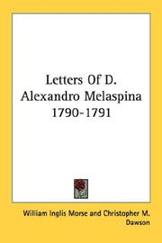 Cover of: Letters Of D. Alexandro Melaspina 1790-1791 |