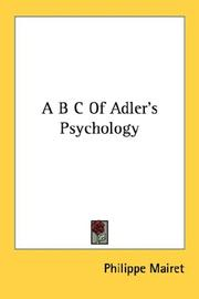 Cover of: A B C Of Adler's Psychology