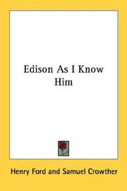 Cover of: Edison As I Know Him | Henry Ford