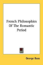Cover of: French philosophies of the romantic period