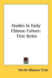 Cover of: Studies In Early Chinese Culture | Herrlee Glessner Creel