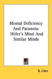 Cover of: Mental Deficiency And Paranoia | B. Liber