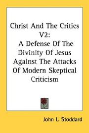 Cover of: Christ And The Critics V2