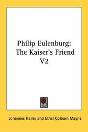 Cover of: Philip Eulenburg