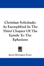 Cover of: Christian Solicitude | James Harington Evans