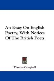 Cover of: An Essay On English Poetry, With Notices Of The British Poets | Thomas Campbell