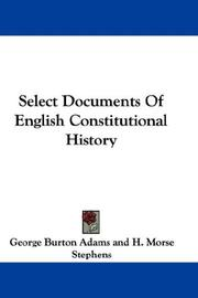 Cover of: Select Documents Of English Constitutional History |