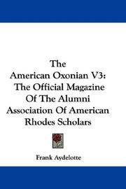 Cover of: The American Oxonian V3