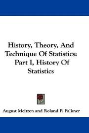 Cover of: History, Theory, And Technique Of Statistics | Meitzen, August