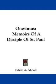 Cover of: Onesimus: memoirs of a disciple of St. Paul