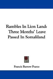 Cover of: Rambles In Lion Land | Francis Barrow Pearce