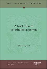 Cover of: A brief view of constitutional powers