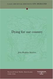 Cover of: Dying for our country