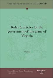 Rules & articles for the government of the army of Virginia by Virginia.