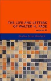 Cover of: The Life and Letters of Walter H. Page Volume II