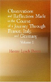 Cover of: Observations and Reflections Made in the Course of a Journey through France Italy and Germany Vol