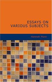 Cover of: Essays on various subjects