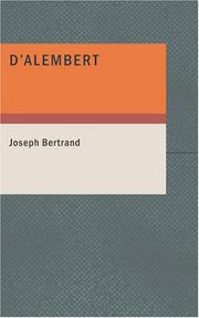 Cover of: D'Alembert