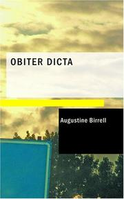 Cover of: Obiter dicta: second series