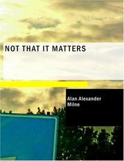 Cover of: Not that it matters
