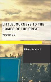 Cover of: Little Journeys to the Homes of the Great- Volume 09