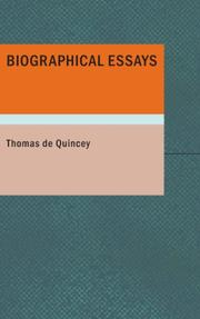 Cover of: Biographical Essays