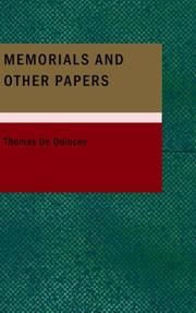 Cover of: Memorials and Other Papers
