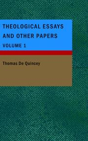 Cover of: Theological Essays and Other Papers- Volume 1