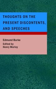 Cover of: Thoughts on the Present Discontents and Speeches