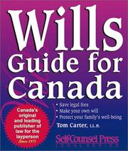 Cover of: Wills guide for Canada | Tom Carter