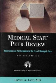 Cover of: Medical staff peer review