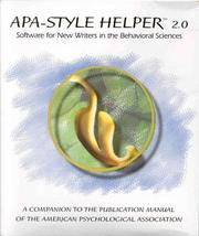 Cover of: Apa-Style Helper 2.0 | American Psychological Association.