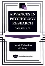 Cover of: Advances in Psychology Research | Frank Columbus