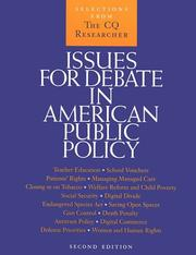 Cover of: Issues for Debate in American Public Policy | Sandra L. Stencel