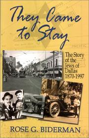 Cover of: They Came to Stay | Rose G. Biderman