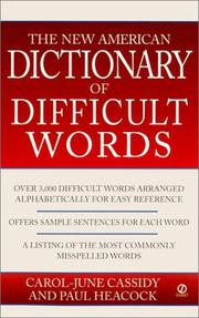 Cover of: New American dictionary of difficult words | Carol-June Cassidy