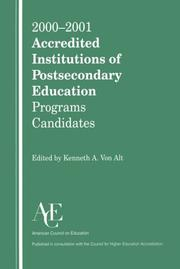 Cover of: 2000-2001 Accredited Institutions of Postsecondary Education, Programs, Candidates (Accredited Institutions of Postsecondary Education)