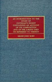 Cover of: An introduction to the study of Justinian's Digest